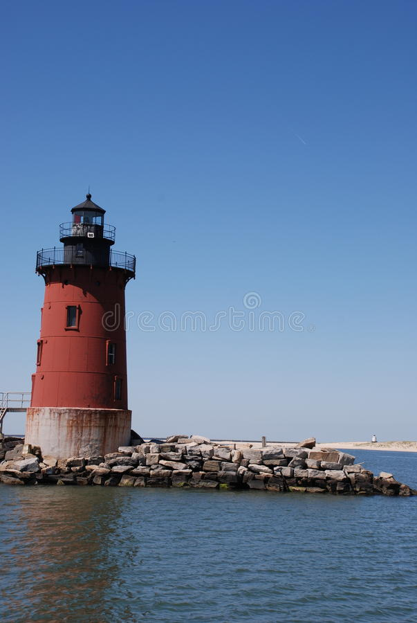 Breakwaters Lighthouse, Lewes, Delaware. Looking at up at Breakwaters Lighthouse Located in Lewes Beach Delaware. Lighthouse is just off the town of Lewes Beach royalty free stock image