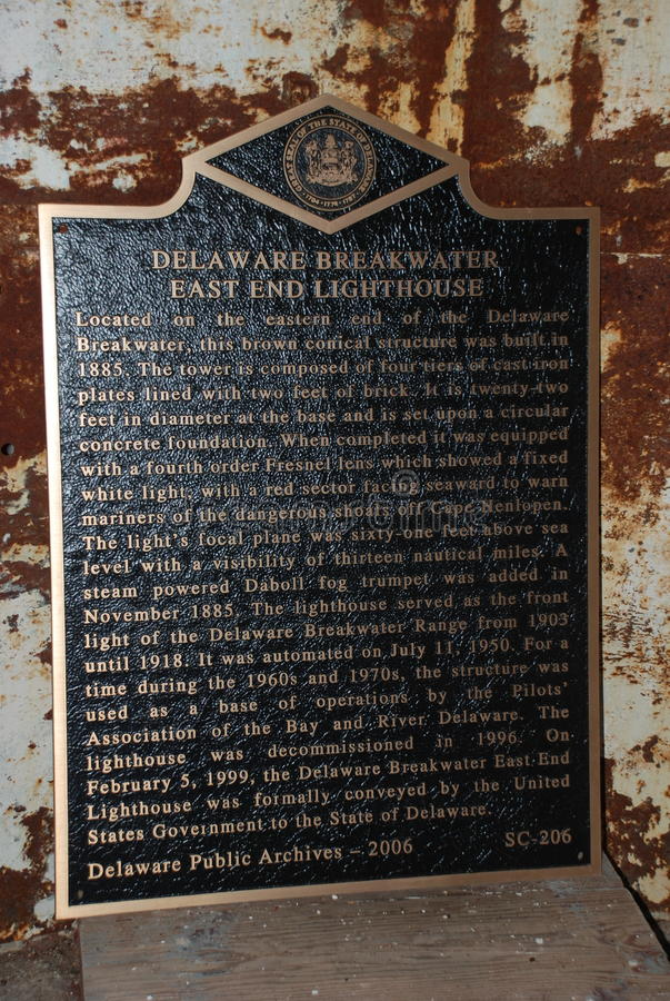 Breakwaters Lighthouse Plaque, Lewes, Delaware. Plaque on the Breakwaters Lighthouse Located in Lewes Beach Delaware. Lighthouse is just off the town of Lewes royalty free stock photography