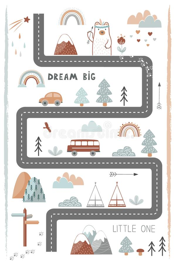 Free Bream Big, Little One - Cute Kids Poster, Mat Or Tapestry In Scandinavian Style. Road, Mountains And Woods Adventure Map Stock Photos - 214650213
