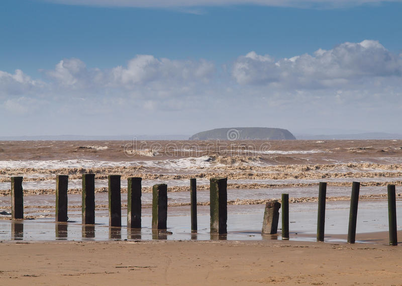 Brean Beach and the Island of Steep Holm, Somerset royalty free stock image
