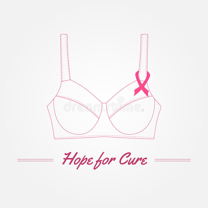 Breast Cancer Awareness Background. Vector elements and inspirat. Ional quotes. Thin line symbols. Hand drawn illustration with place for your text vector illustration