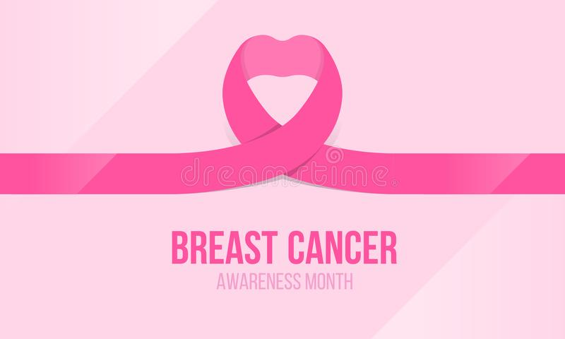 Breast cancer awareness banner with pink ribbon heart roll sign vectordesign stock illustration