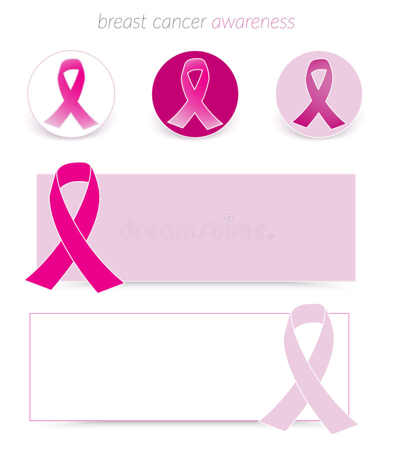 Breast Cancer Awareness. Banners and badges royalty free illustration
