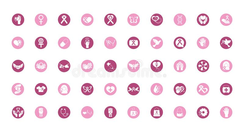 Breast cancer awareness block icons set. Vector illustration vector illustration