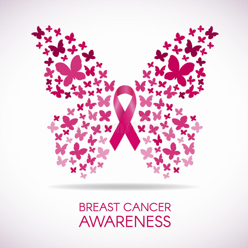 Breast cancer awareness with Butterfly sign and pink ribbon vector illustration vector illustration