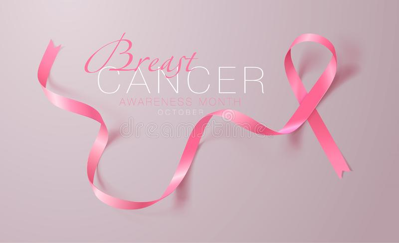 Breast Cancer Awareness Calligraphy Poster Design. Realistic Pink Ribbon. October is Cancer Awareness Month. Vector. Illustration royalty free illustration