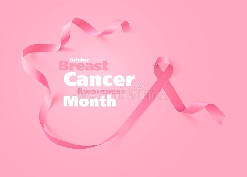 Breast Cancer Awareness Calligraphy Poster Design. Realistic Pink Ribbon. October is Cancer Awareness Month. Vector. Illustration vector illustration