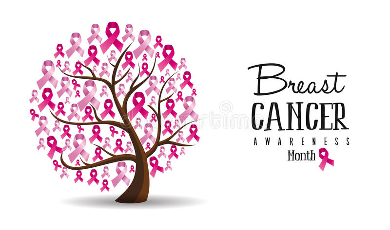 Breast Cancer awareness concept ribbon tree design vector illustration