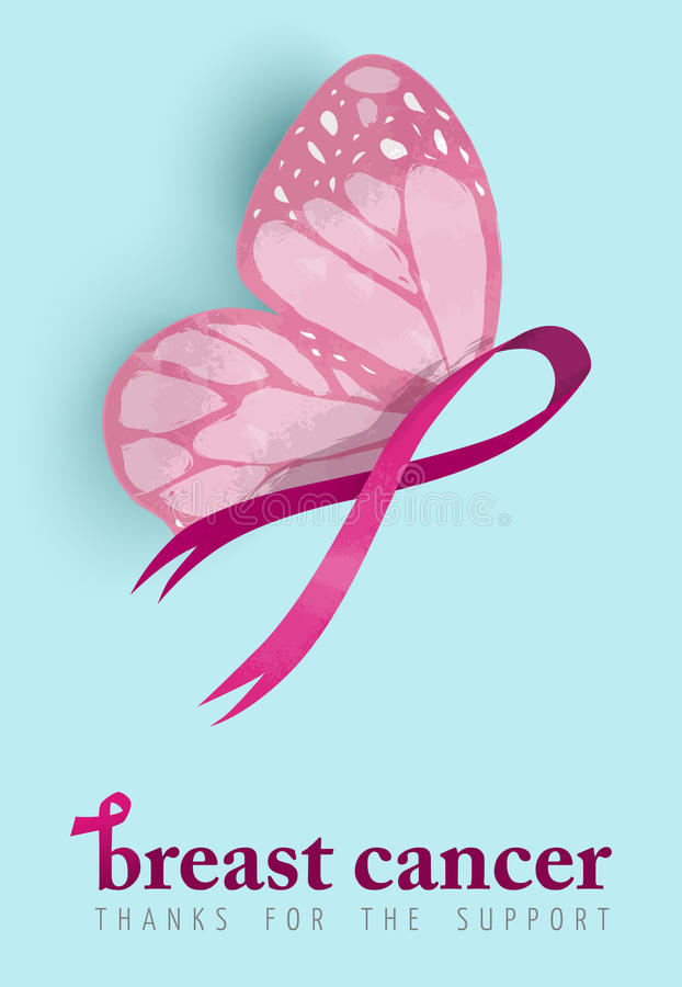Pink ribbon butterfly tattoo