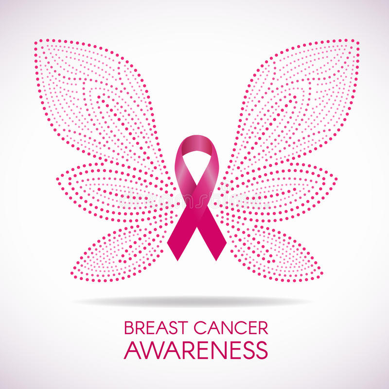 Breast cancer awareness with Dot line Butterfly sign and pink ribbon vector illustration design stock illustration