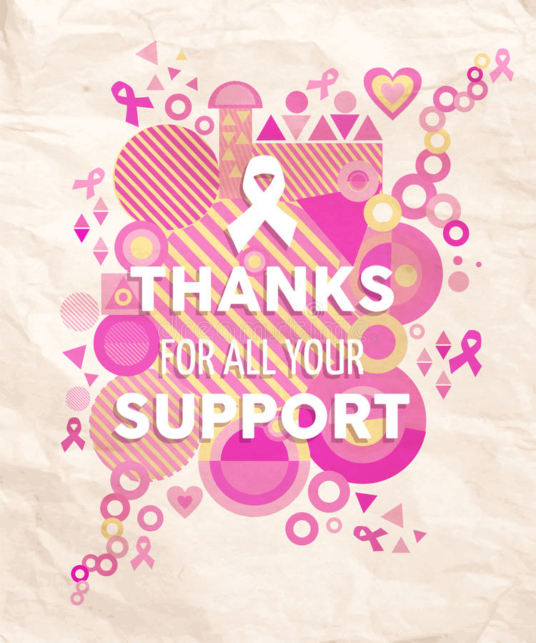Breast cancer awareness geometry support poster royalty free stock photo