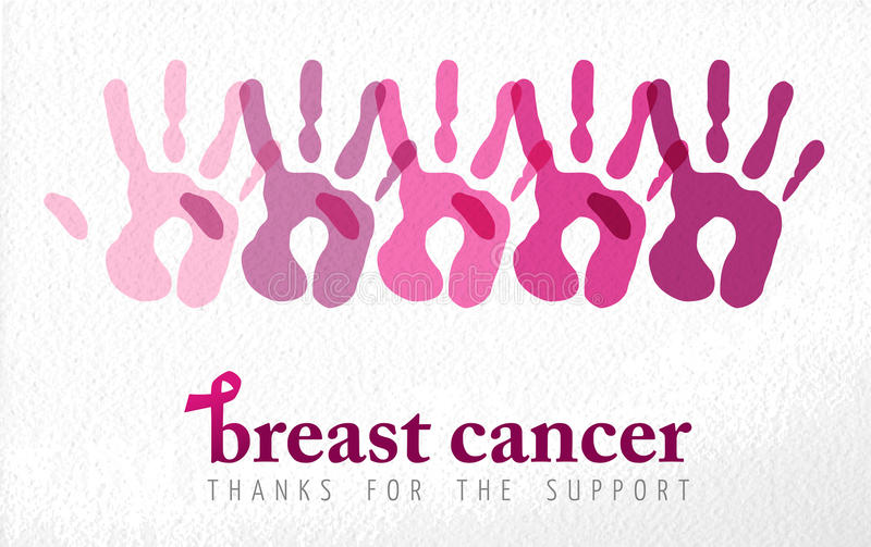 Breast cancer awareness handprint illustration royalty free stock images