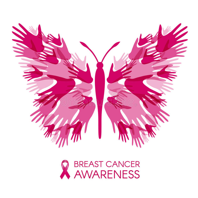 Breast cancer awareness with Hands Butterfly sign and pink ribbon vector illustration stock illustration
