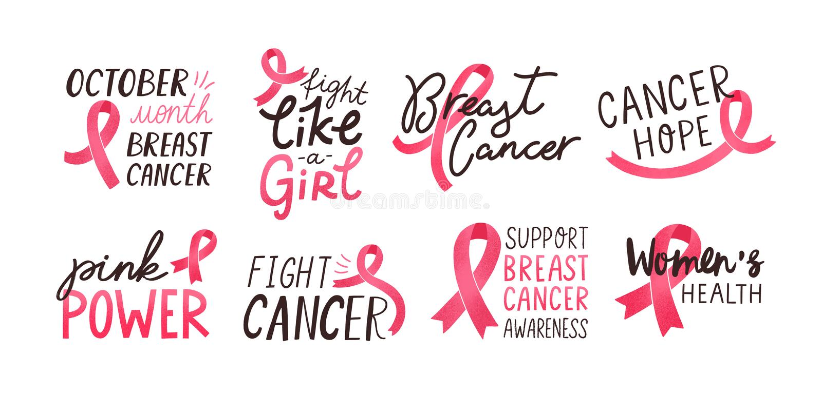 Breast cancer awareness handwritten letterings set. Women oncological disease solidarity campaign slogans pack vector illustration