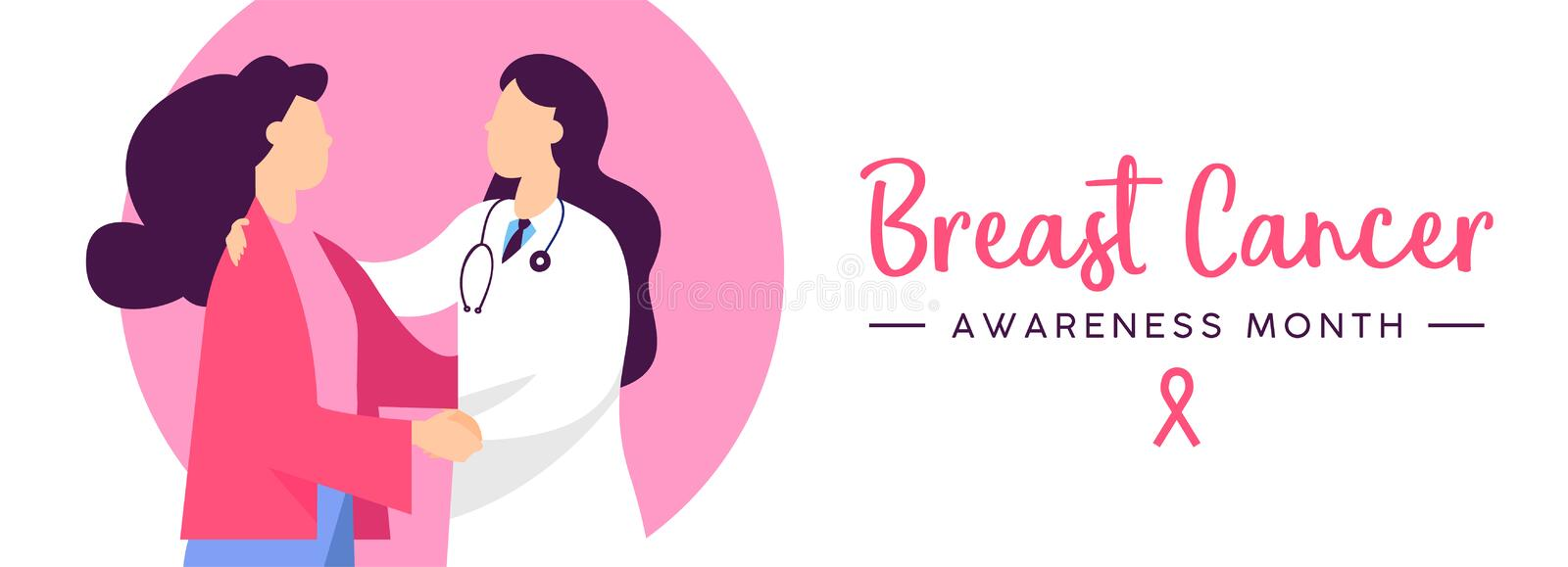 Breast Cancer Awareness health concept banner. Breast Cancer Awareness web banner illustration of doctor checkup with woman patient in pink colors, health care vector illustration