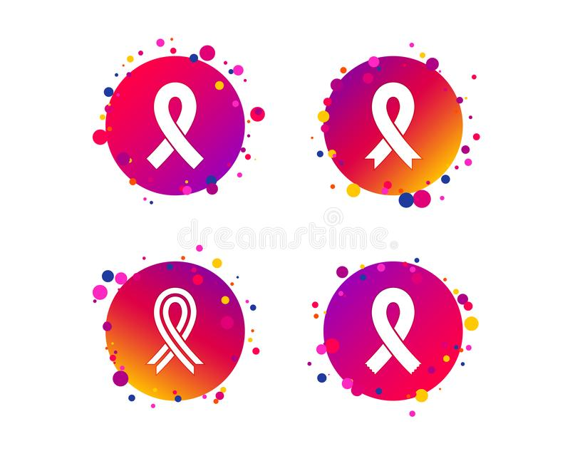 Breast cancer awareness icons. Ribbon signs. Vector. Breast cancer awareness icons. Ribbon sign symbols. Gradient circle buttons with icons. Random dots design royalty free illustration
