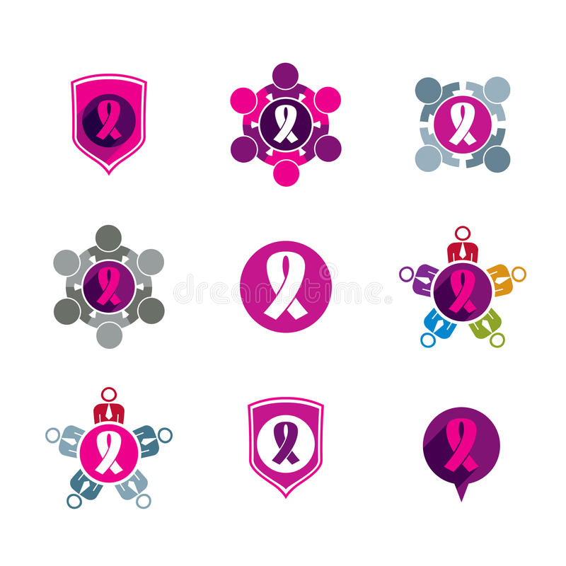 Breast cancer awareness idea. Vector illustrations royalty free illustration