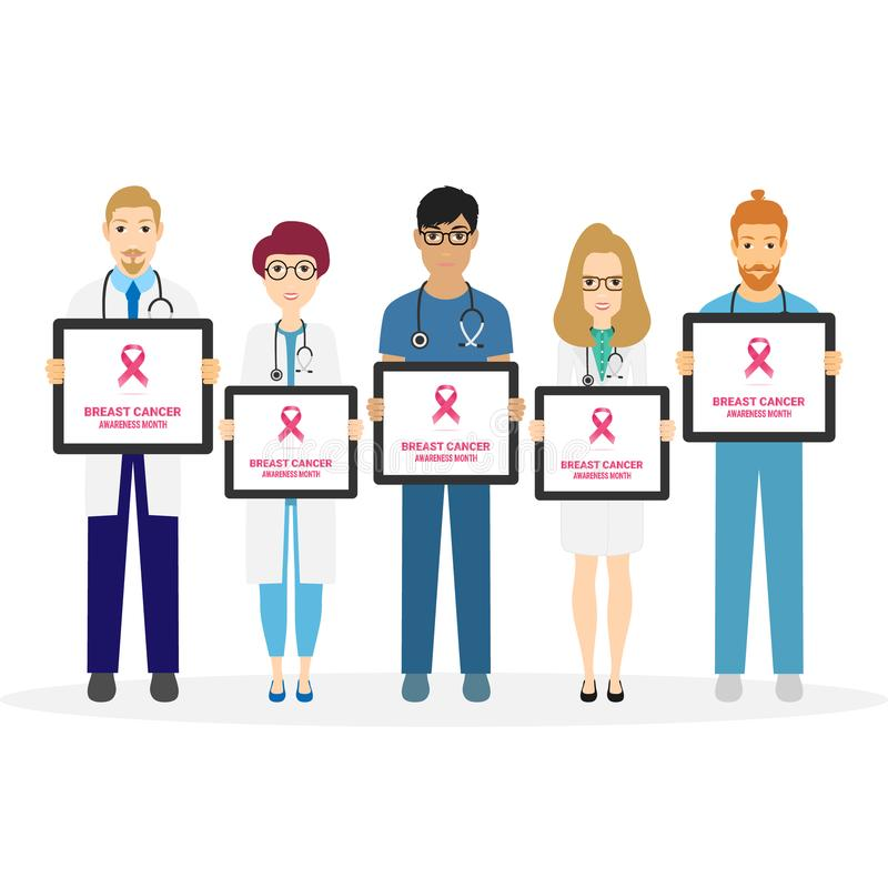 Breast Cancer Awareness illustration of doctors checkup with woman patient in pink colors, health care and prevention vector illustration
