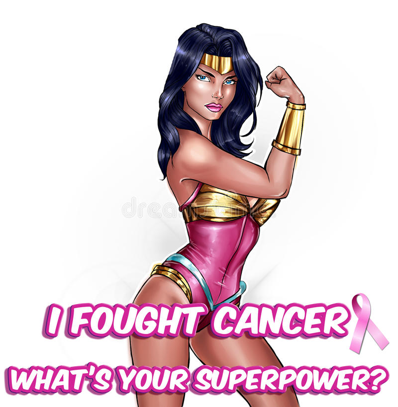 Breast cancer awareness illustration - Pink October - Super hero girl background royalty free illustration