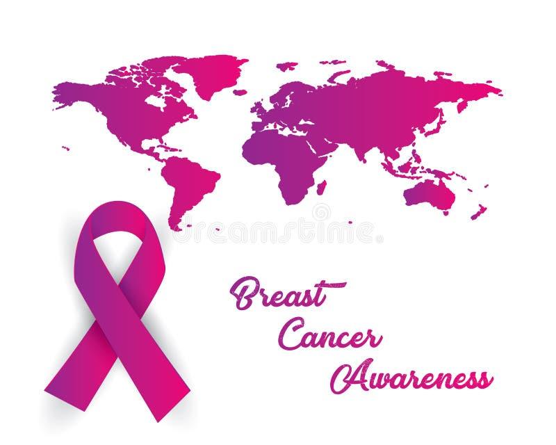 Breast cancer awareness iluatration vector. Breast cancer awareness illustration vector, breast cancer paper art illustration vector,ribbon illustration vector royalty free illustration