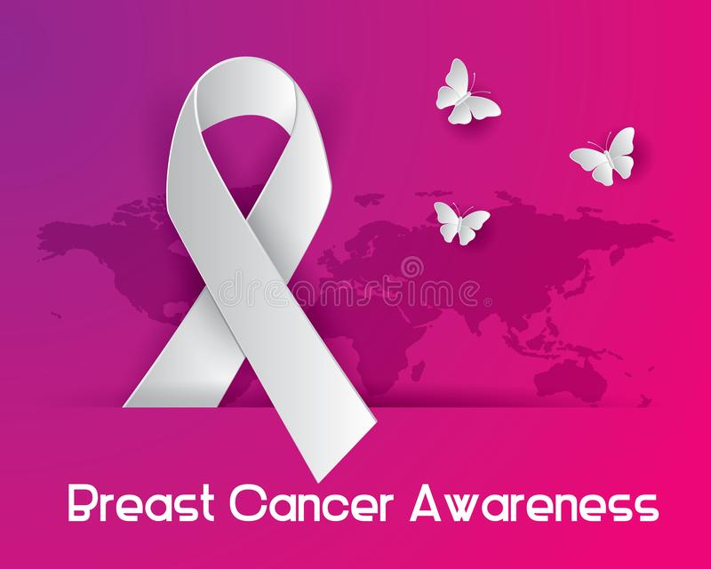 Breast cancer awareness iluatration vector. Breast cancer awareness illustration vector, breast cancer paper art illustration vector,ribbon illustration vector vector illustration