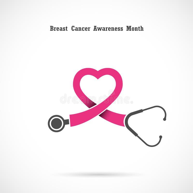 Breast cancer awareness logo design.Breast cancer awareness mont stock illustration