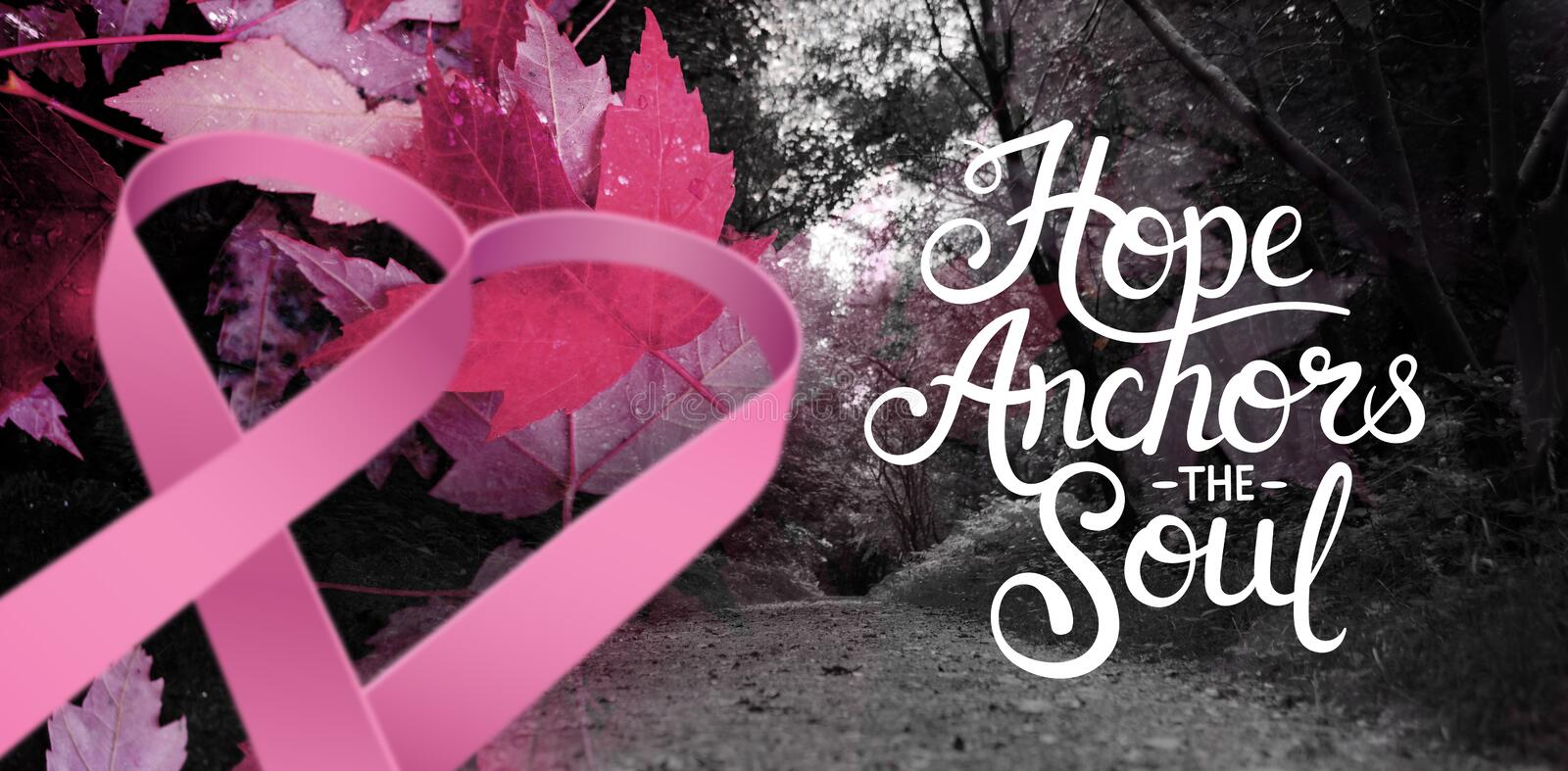 Composite image of breast cancer awareness message. Breast cancer awareness message against maple leaves fallen on sidewalk stock photos