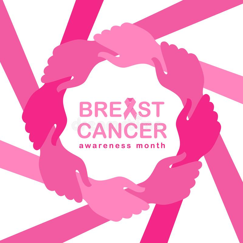 Breast cancer awareness month banner with pink hand hold hand around circle frame and pink ribbon vector illustration design royalty free illustration