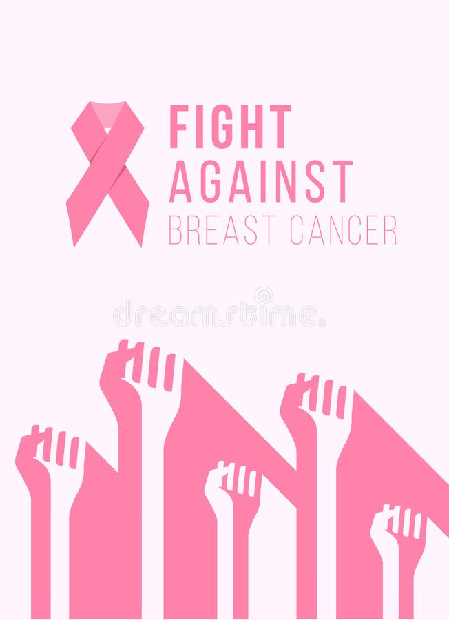Breast cancer awareness month banner with pink ribbon and abstract hand fight group sign vector illustration design royalty free illustration