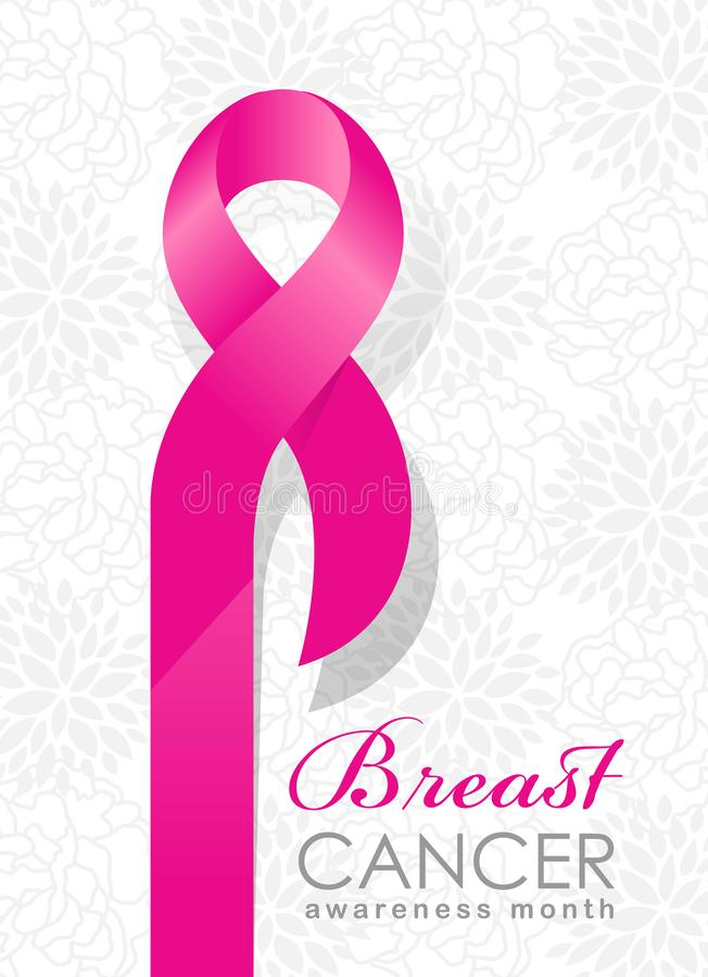 Breast cancer Awareness month banner with pink ribbon sign on abstract flowers background vector design stock illustration
