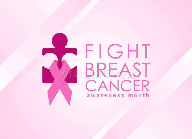 Breast cancer Awareness month banner with pink ribbon sign around pink woman jigsaw sign vector design stock illustration