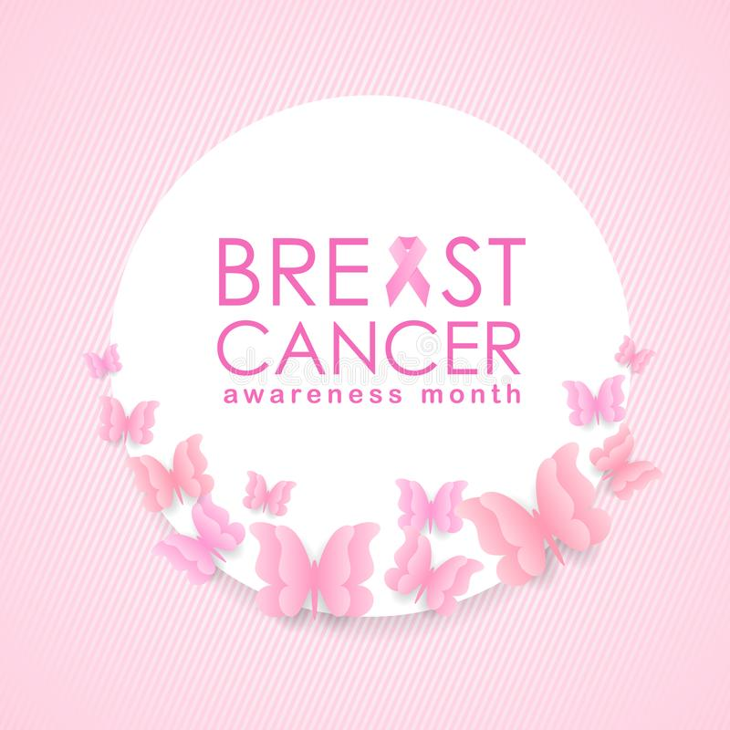 Breast cancer Awareness month banner with pink ribbon sign and text on white circle and butterfly around frame vector design royalty free illustration