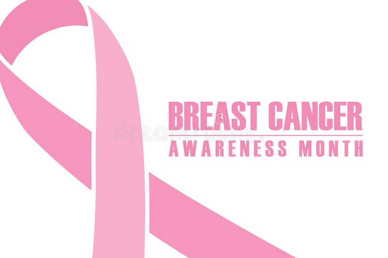 Breast cancer awareness month banner. Pink ribbon on white background. royalty free illustration
