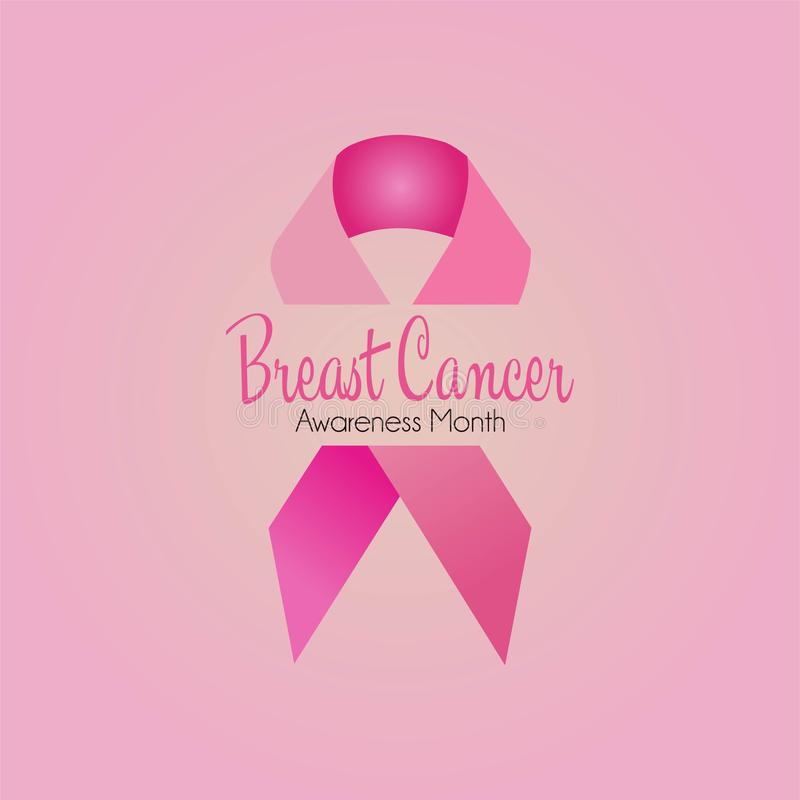 Breast cancer awareness month banner or poster with ribbon stock illustration