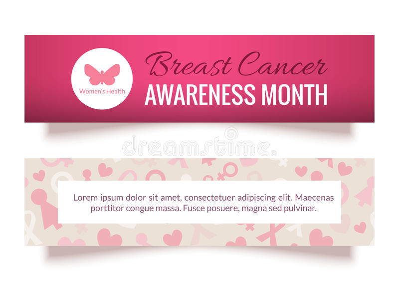 Breast Cancer Awareness Month Banners Set stock illustration
