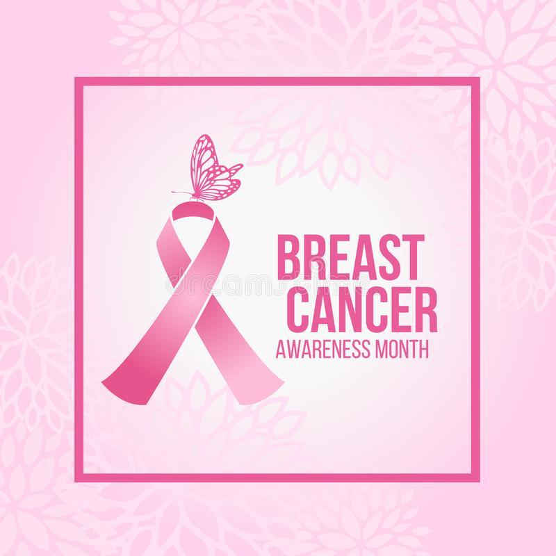 Breast Cancer Awareness month with Butterfly on Pink ribbon sign in pink frame and soft pink abstract flower background vector des. Ign royalty free illustration