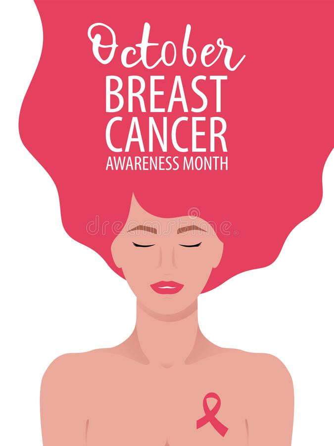 Breast cancer awareness month card with young woman. stock illustration