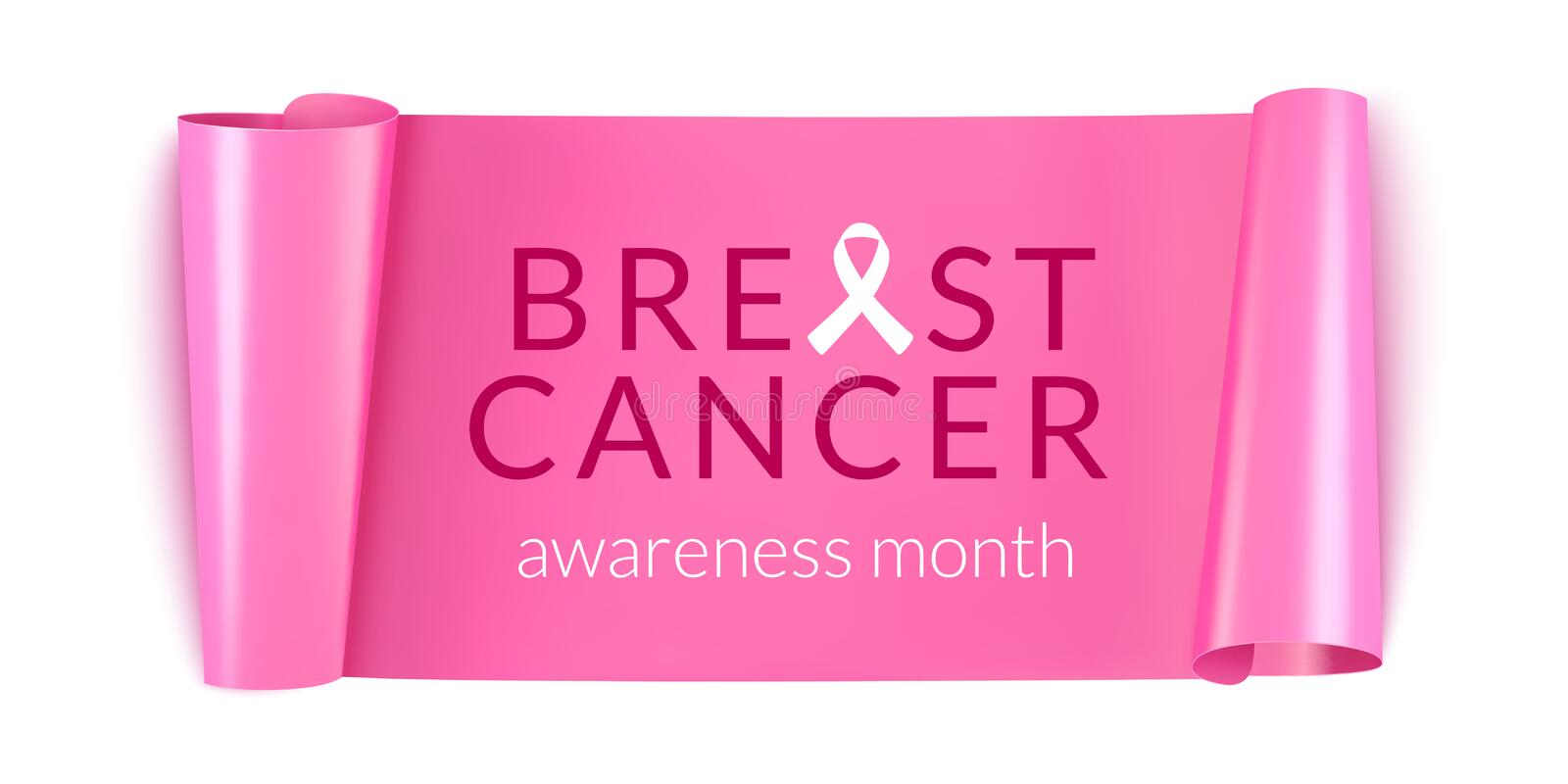 Breast Cancer awareness month horizontal banner. Pink Ribbon isolated. royalty free illustration