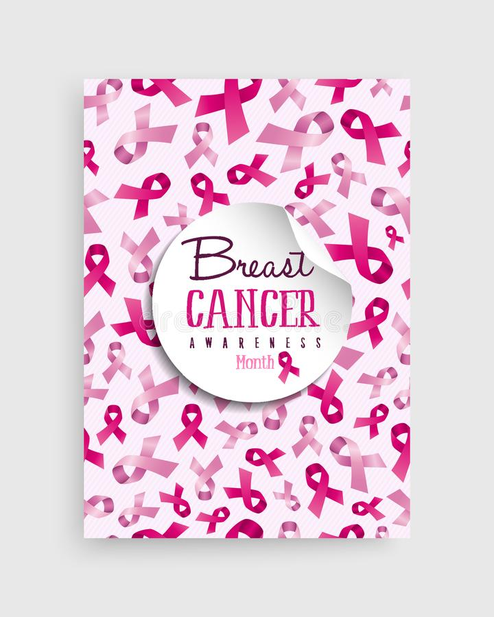 Breast cancer awareness pink ribbon poster design. Breast cancer awareness month illustration with pink ribbon bow background decoration and text quote for royalty free illustration