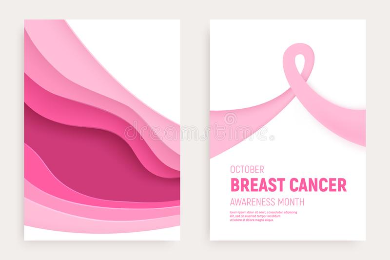 Breast cancer awareness month paper cut banner set. Paper art pink ribbon - October health care symbol. International. Health campaign for woman. Craft vector vector illustration
