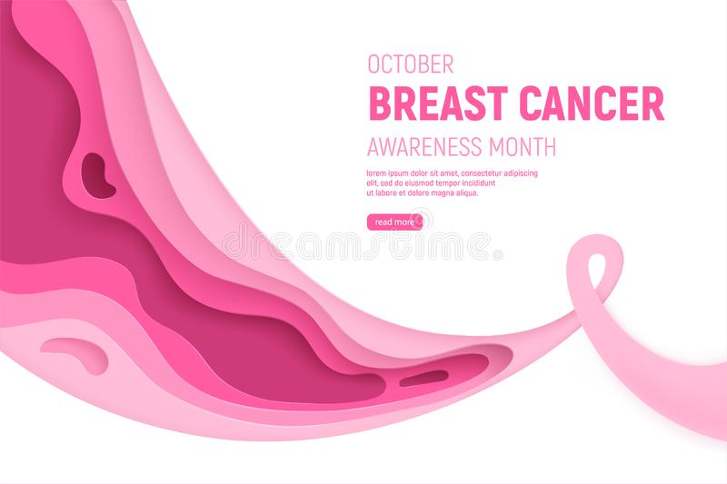 Breast cancer awareness month paper cut concept. Paper art pink ribbon - October health care symbol. International. Health campaign for woman. Craft vector stock illustration