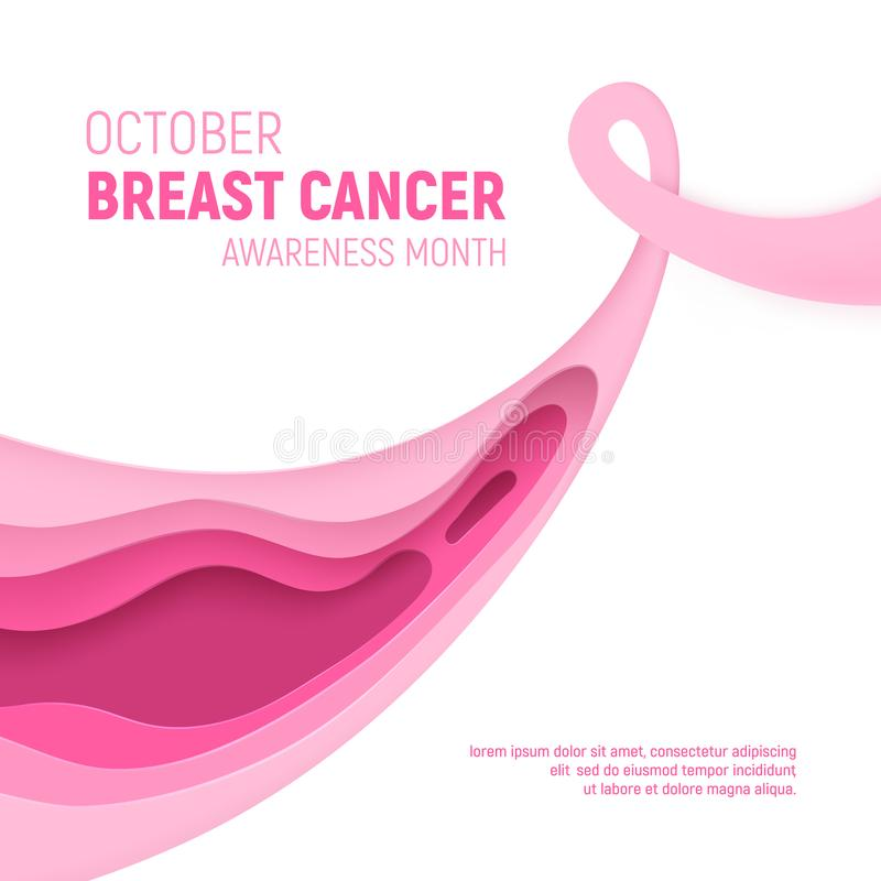 Breast cancer awareness month paper cut concept. Paper art pink ribbon - October health care symbol. International. Health campaign for woman. Craft vector royalty free illustration