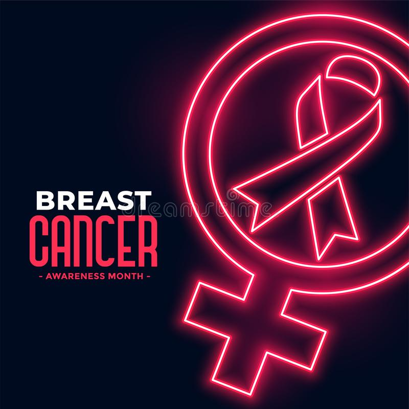 Breast cancer awareness month poster in neon style. Vector stock illustration