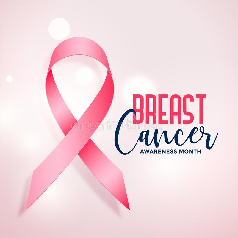 Breast cancer awareness month with realistic pink ribbon. Vector royalty free illustration