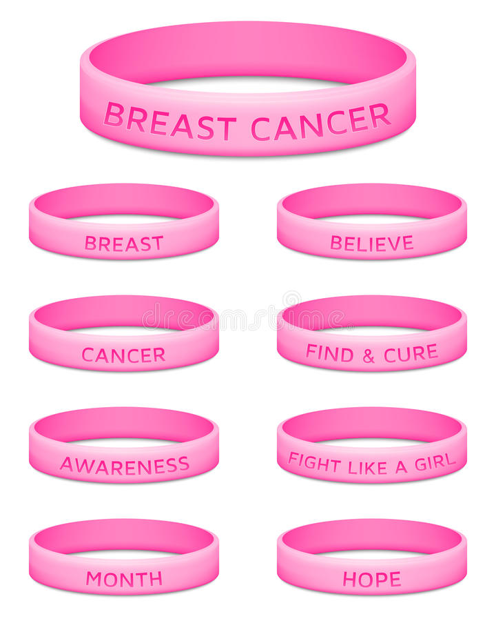 Breast cancer awareness month rubber wristband. Vector illustration stock images