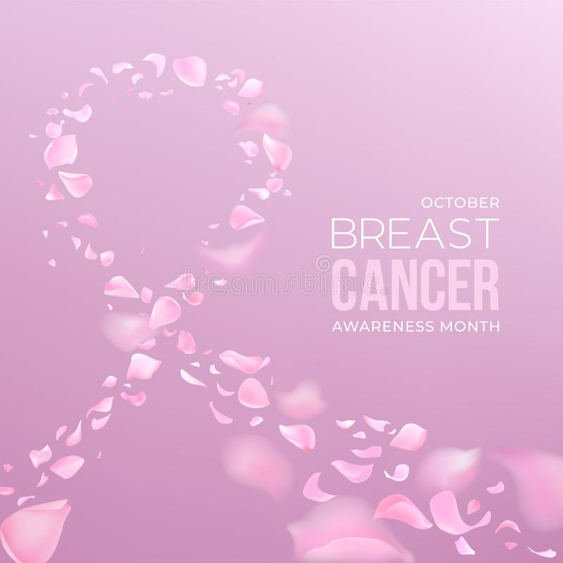 Breast cancer awareness month vector banner with pink rose petals stock photos