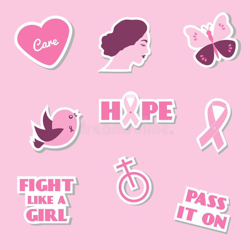 Breast Cancer Awareness Month Vector Flat Icons Stickers Labels