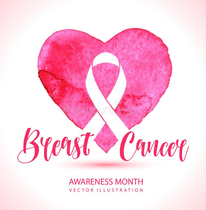 Breast Cancer Awareness Month Vector Ribbon imitation of watercolor background. Breast Cancer Awareness Month Vector Ribbon imitation of watercolor heart vector illustration