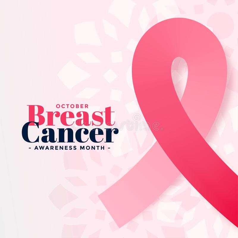 Breast cancer awareness october month poster design. Vector stock illustration