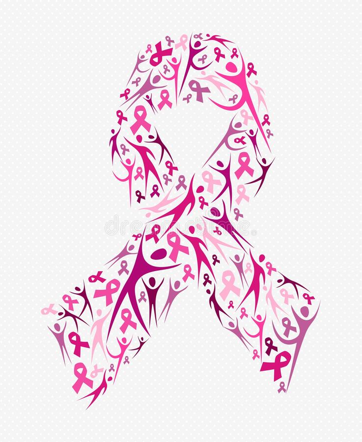Breast cancer awareness pink ribbon shape social royalty free stock photography